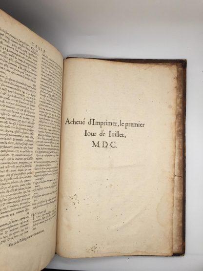 """Final leaf showing """"Achevé d'imprimer le premierjour de Juillet M D C"""""""